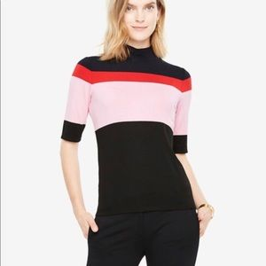 Ann Taylor Striped Color Block Mock Neck Sweater